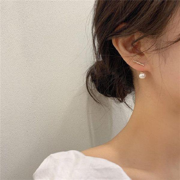 New simple earrings fashion small geometric letter earrings wild pearl earrings NHQD189933