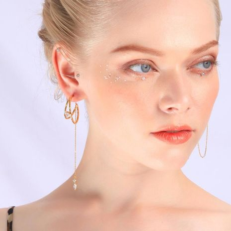 Earrings long 925 sterling silver stud earrings female new temperament asymmetric earrings NHQD189936's discount tags