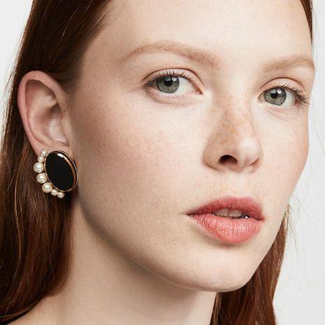 Wholesale alloy black dripping pearl fan-shaped earrings NHLU189950's discount tags