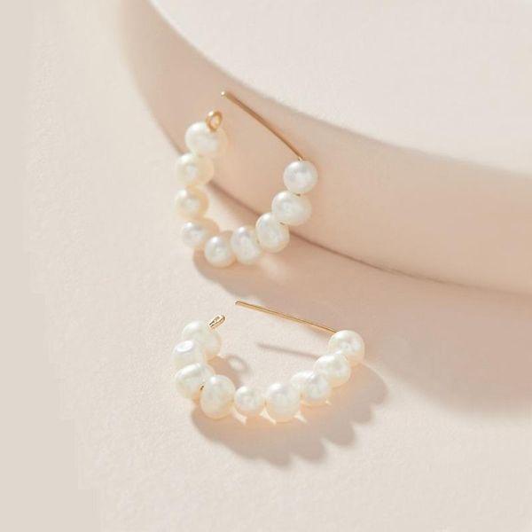 Earrings copper wire natural pearl shell female pin earrings new NHLU189959