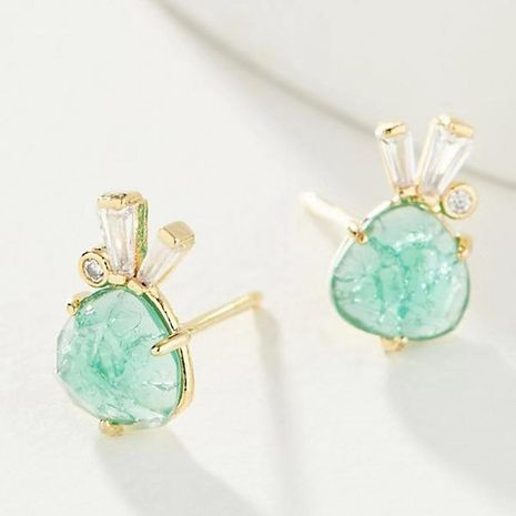 925 Hypoallergenic Silver Needle Natural Stone Ice Cracking Effect Rabbit Ear Studs NHLU189964's discount tags