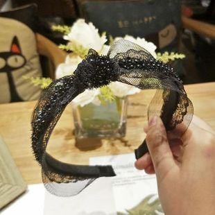New simple middle knotted hair hoop wide side lace side headband hairpin women NHOF189974's discount tags