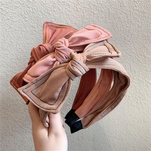Fabric double-stripe striped headband with big bow and wide-band headband NHOF189975's discount tags