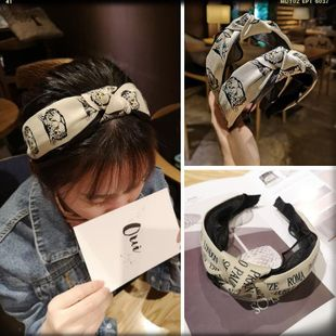 Kink cat in the middle of the English alphabet weaving bandwidth side hair knotted headband hairpin card NHOF189976's discount tags