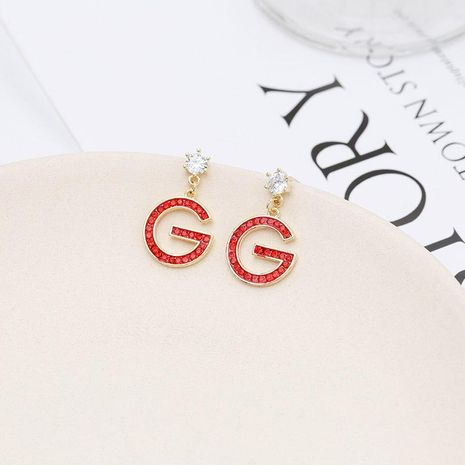 Red diamond earrings simple alphabet red earrings NHDO190005's discount tags
