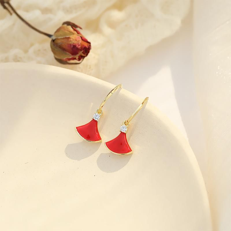 Small fan-shaped earrings female simple and stylish personality earrings NHDO190007