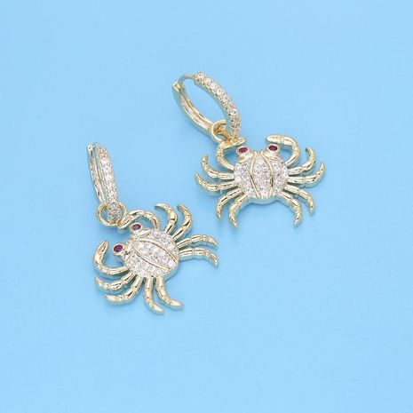 European and American temperament personality crab earrings micro-inlaid zircon golden sea crab earrings female creative fashion fashion earrings NHDO190010's discount tags