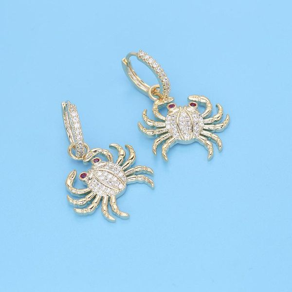 European and American temperament personality crab earrings micro-inlaid zircon golden sea crab earrings female creative fashion fashion earrings NHDO190010