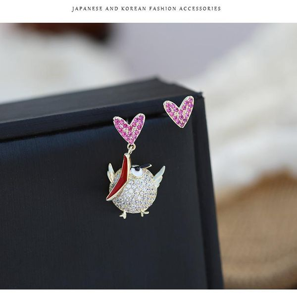 Fashion asymmetric bird earrings for women NHDO190015
