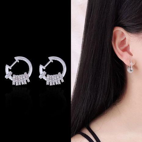 Inlaid zircon smart hoop earrings multi-loop design stud earrings NHDO190020's discount tags