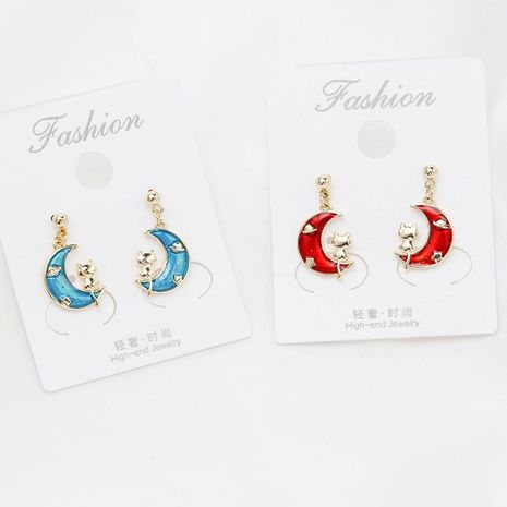 925 sterling silver pin drop oil painting fashion moon cat earrings NHDO190027's discount tags
