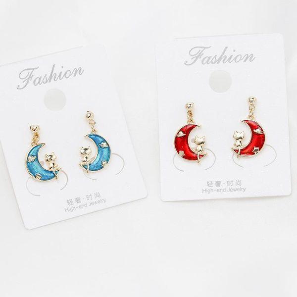 925 sterling silver pin drop oil painting fashion moon cat earrings NHDO190027