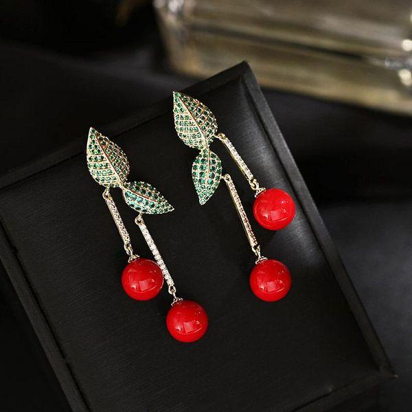 Cherry contrast color playful long earrings women NHDO190028