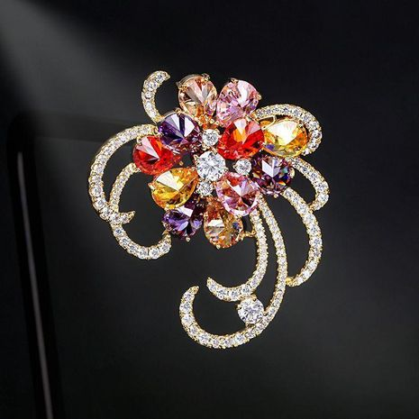 Japan and South Korea new shiny zircon flower brooch high-end fashion women's jacket suit pin buckle anti-lighting accessories NHDO190037's discount tags