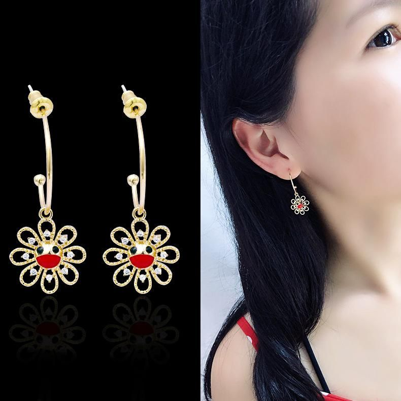 Fashionable detachable cute smiley sun flower earrings with micro diamonds simple Bai ear ornaments NHDO190049