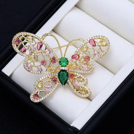 Stylish Japanese and Korean temperament high-grade elegant butterfly brooch suit simple personality inlaid zircon accessories clothes corsage jewelry NHDO190050's discount tags