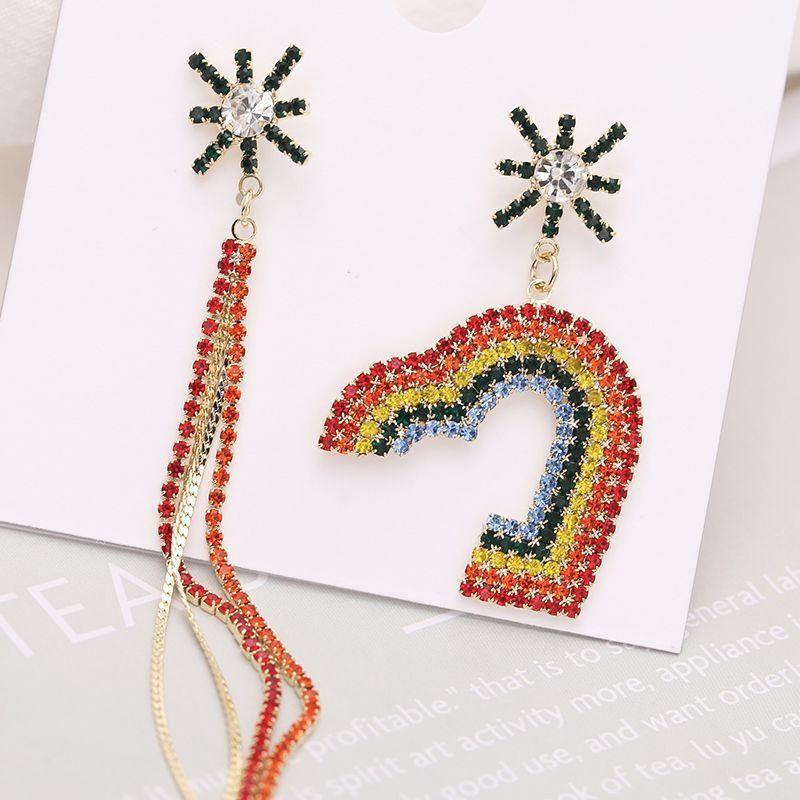 Fashion earrings rainbow color rhinestone candy love tassel asymmetric temperament earrings women NHDO190053