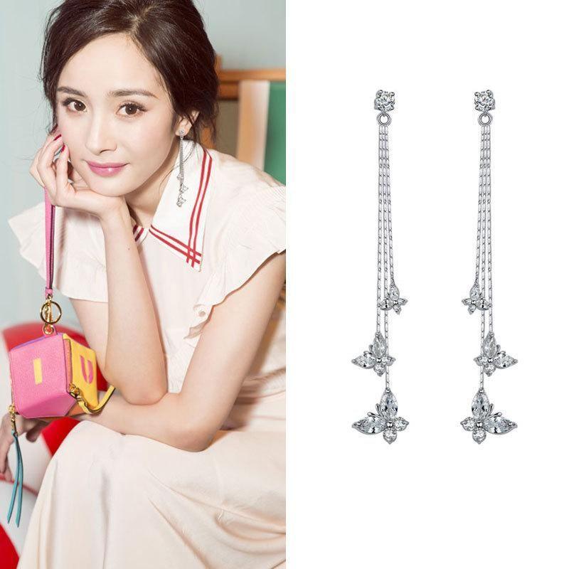 Butterfly flower tassel long earrings female simple sweet temperament personality earrings NHDO190057