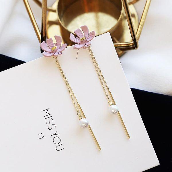 S925 Sterling Silver Ear Pin Fashion Pearl Flower Tassel Earrings NHDO190066