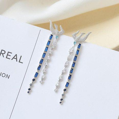 Long sapphire earrings female 925 silver needles NHDO190067's discount tags