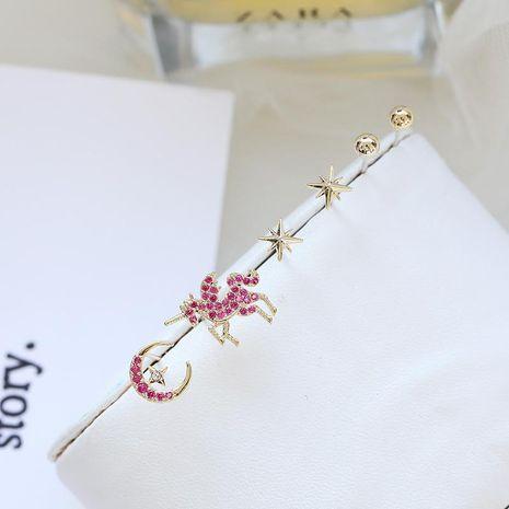 Personality unicorn six-piece earrings micro diamond women NHDO190079's discount tags