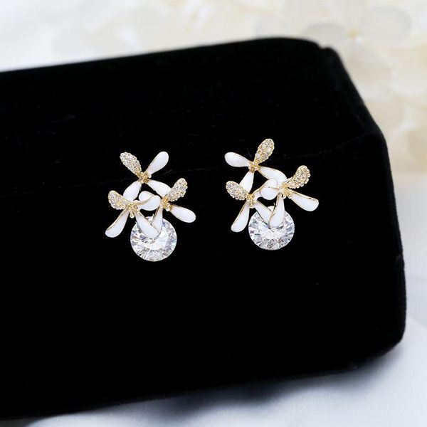 White oil flower earrings 925 silver needle personality simple earrings women NHDO190080