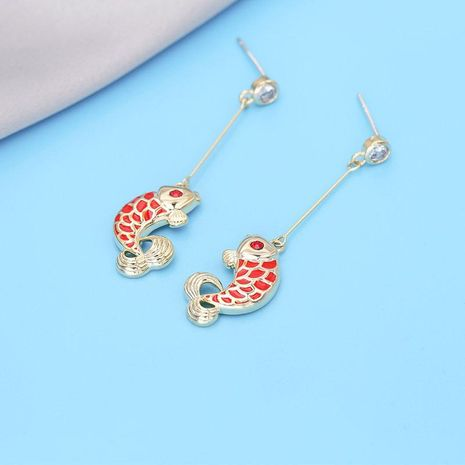 Simple personality creative red carp earrings NHDO190086's discount tags