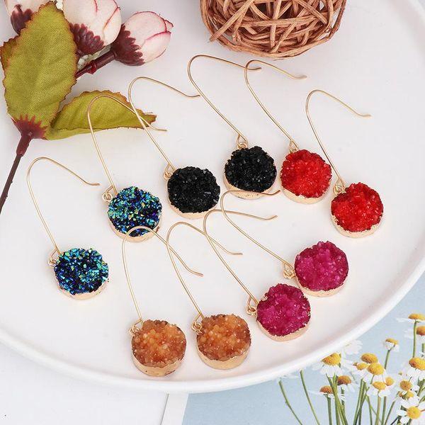 New geometric drip glue cluster crystal water drop earrings retro color earrings wholesale NHJJ190089