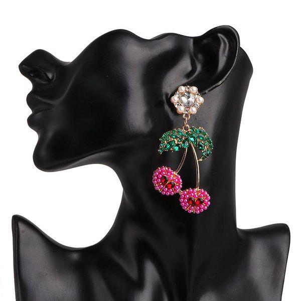 New cherry earrings exquisite crystal earrings for women wholesale NHJJ190093