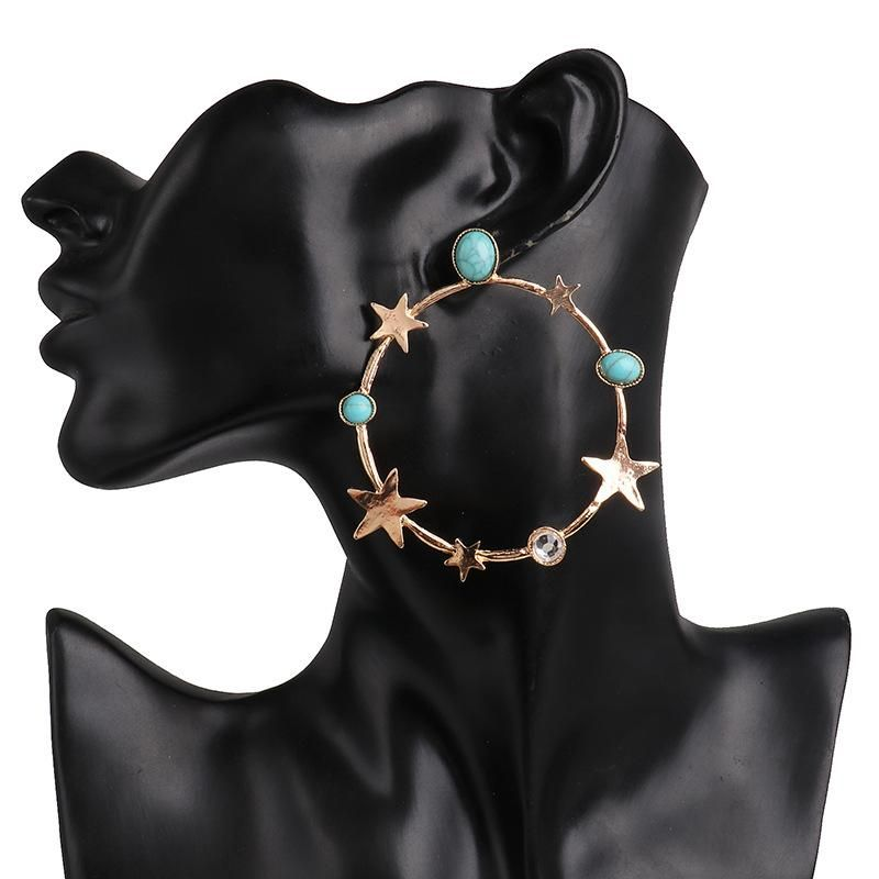 New plating star stud earrings geometric star earrings wholesale NHJJ190096