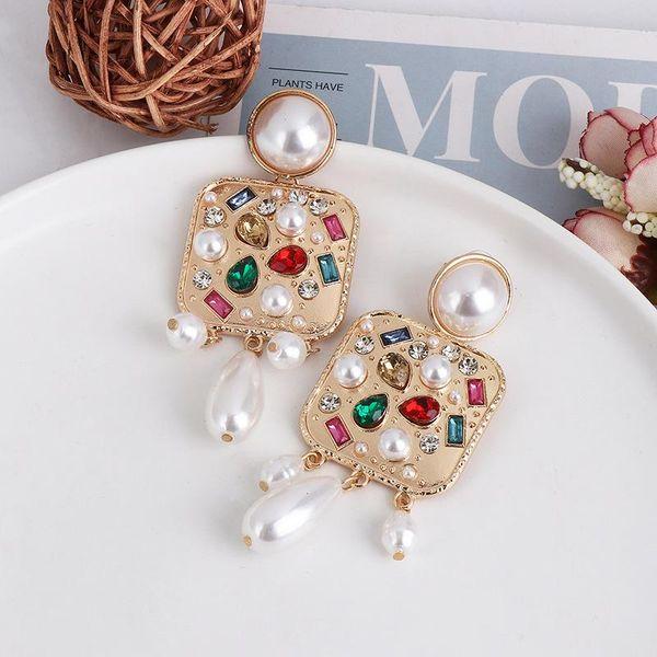 Hot fashion simple geometric earrings with pearls NHJJ190098