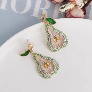 New fashion personality earrings temperament full diamond fruit pear earrings NHJJ190104's discount tags