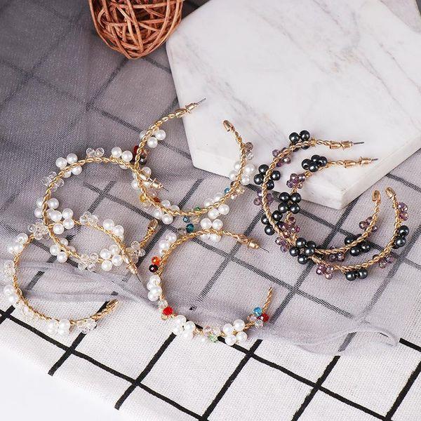 C-shaped pearl earrings female temperament delicate fashion earrings popular earrings wholesale NHJJ190114