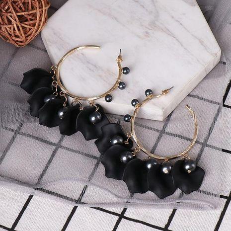 Rose petal C-shaped earrings for women NHJJ190118's discount tags