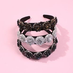 New hairband rice beads woven hair accessories velvet sequin headband girl NHMD190130's discount tags