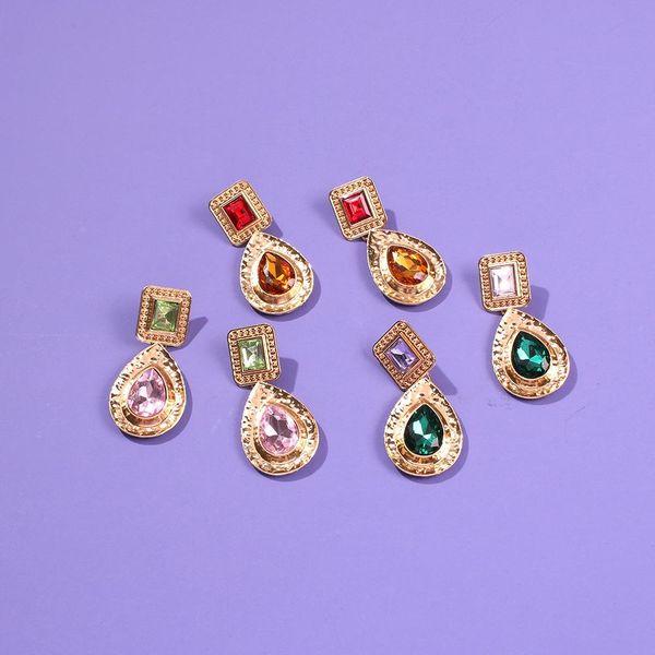 Alloy glass diamond series earring temperament retro drop-shaped earrings NHMD190141