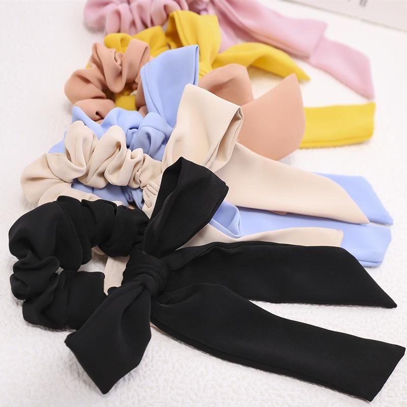 Bow head rope Japan and South Korea's sweet wild color fabric bowel elastic hair accessories NHDM190145