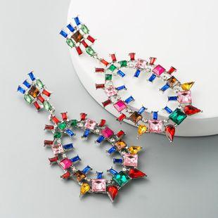 Dulces pendientes de damas geométricos exagerados europeos y estadounidenses con un colorido temperamento de pedrería grandes pendientes ovalados largos NHLN190168's discount tags