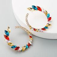 Europa y los Estados Unidos venden pendientes de diamantes de imitación coloridos con incrustaciones retro pendientes de círculo grande exagerados femeninos con aretes de lujo con forma de C súper flash NHLN190169