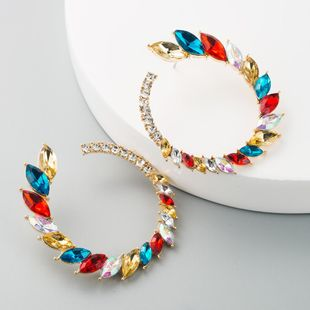 Europe and the United States selling retro inlaid colorful rhinestone earrings female exaggerated large circle earrings set luxury super flash C-shaped stud earrings NHLN190169's discount tags