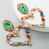 Aleación en forma de corazón de gran venta en Europa y América con incrustaciones de diamantes Pendientes exagerados de temperamento retro Versión coreana femenina de los pendientes de diamantes súper completos NHLN190170