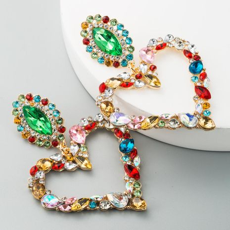 European and American hot-selling heart-shaped alloy inlaid with diamonds retro temperament exaggerated earrings female Korean version of the super flash full diamond earrings NHLN190170's discount tags