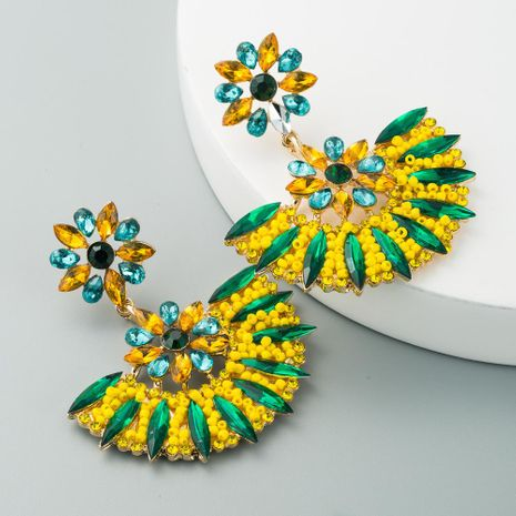 Fashion exaggerated colored rice beads earrings personality baroque colored diamond earrings temperament semicircle earrings female factory direct sales NHLN190171's discount tags