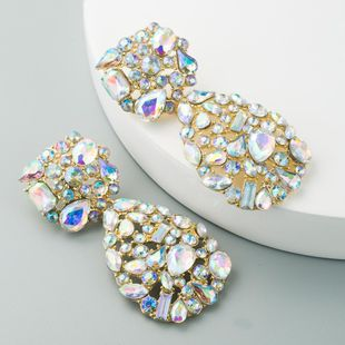 European and American popular personality fashion geometric alloy earrings geometric double earrings set with super flash AB color diamond earrings NHLN190174's discount tags