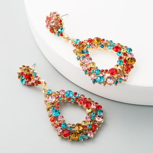 European and American big drop-shaped alloy diamond long earrings female temperament earrings bohemian earrings factory direct sales NHLN190177's discount tags