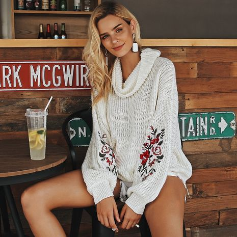 2019 new white embroidered sweater fashion women's wholesale NHDE190193's discount tags
