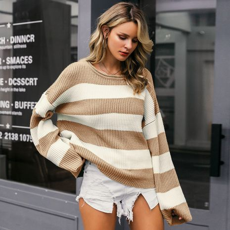 2019 new round neck striped sweater fashion women's wholesale NHDE190208's discount tags