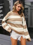 2019 new round neck striped sweater fashion women39s wholesale NHDE190208