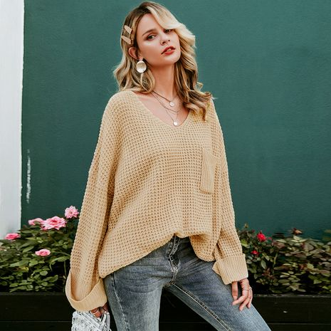 2019 New V-neck Loose Sweater Fashion Women Wholesale NHDE190219's discount tags