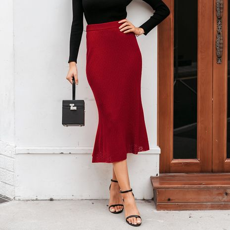 2019 new solid color sexy skirt hem skirt fashion women's wholesale NHDE190222's discount tags